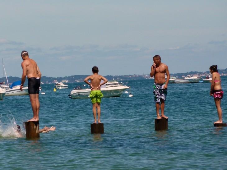 Playing in the sea at INDIGO NOIRMOUTIER