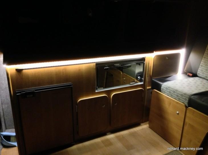 LED lights in campervan