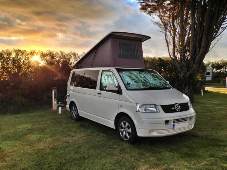 Campervan at Willingcott Caravan Club Site