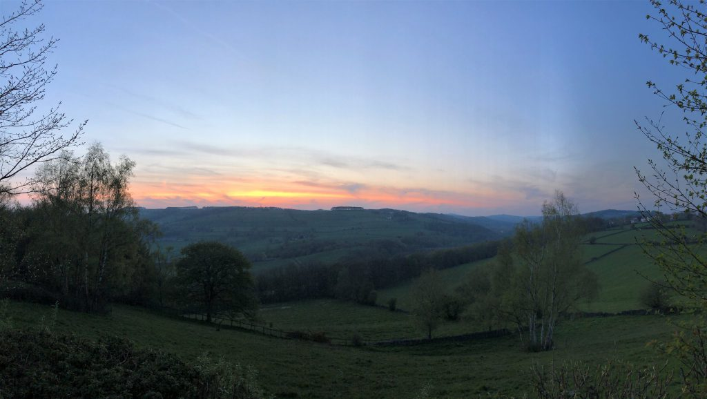 A panoramic shot of the sunset over Amber Valley